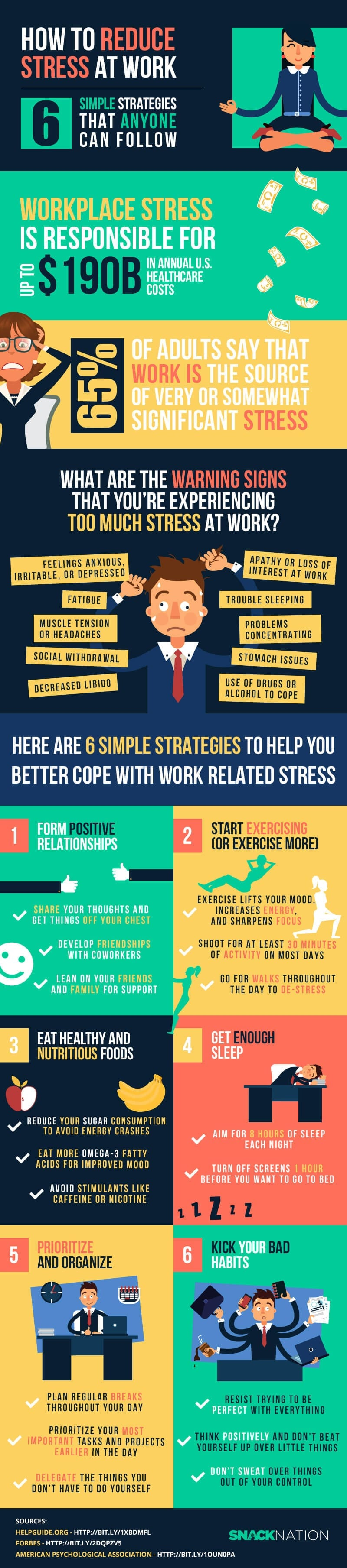 how to reduce stress at work infographic