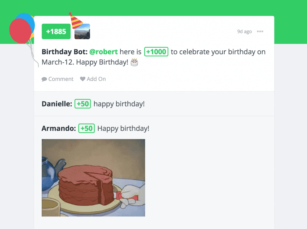 Bonusly Birthday Bot Screenshot