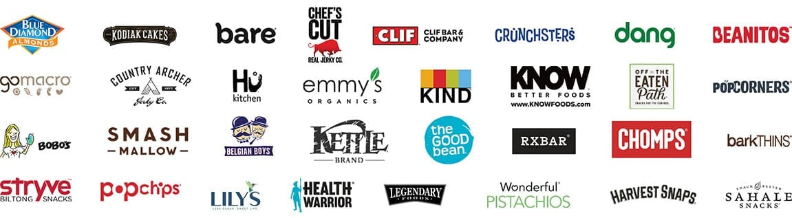 Some of the great brands you'll find in our boxes include Clif bar, Harvest Snaps, Kodiak Cakes, and Off the Eaten Path.
