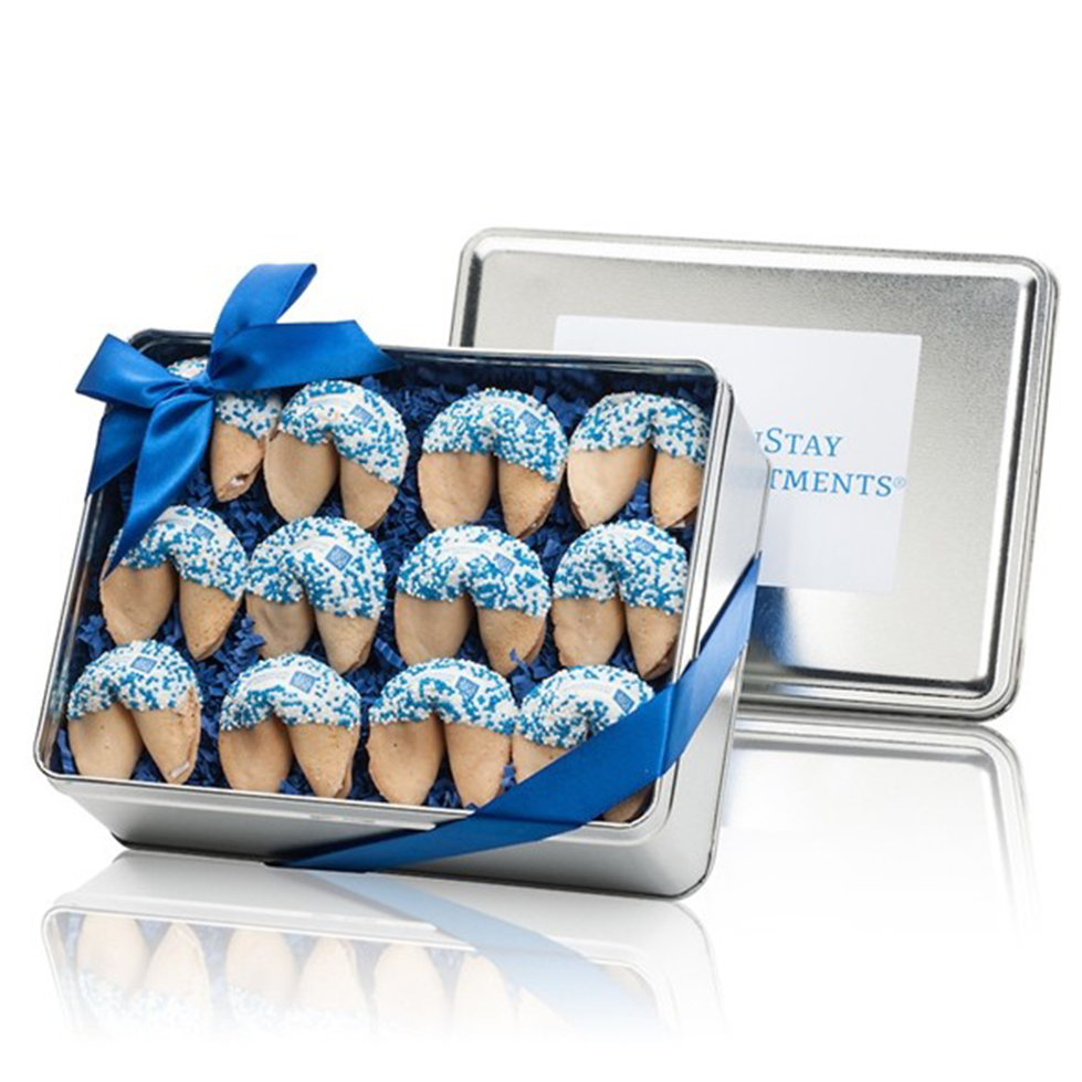Custom Fortune Cookie -12 Theme Message cookies in an Elegant Tin with a lush Ribbon