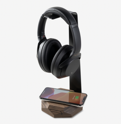 2-In-1 Walnut Headphone Stand & Charger