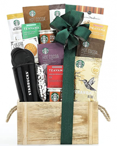 Wine and Teavana Starbucks Gift Basket
