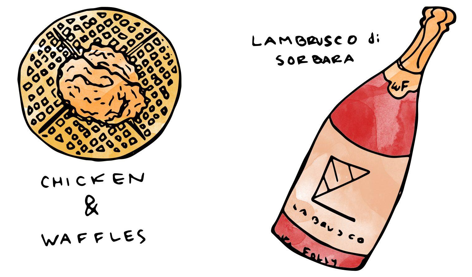 chicken-waffles-illustration-breakfast-wine